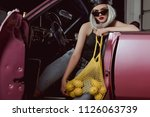 stylish blonde girl in beret... | Shutterstock . vector #1126063739