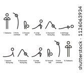 sun salutation yoga exercise ... | Shutterstock .eps vector #1126063934