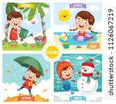 vector illustration of seasons | Shutterstock .eps vector #1126067219
