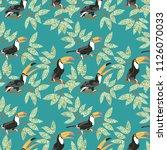toucan bird. branches with... | Shutterstock .eps vector #1126070033