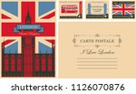 retro postcard with british... | Shutterstock .eps vector #1126070876