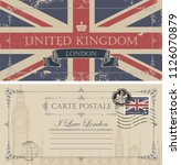 retro postcard with uk flag and ... | Shutterstock .eps vector #1126070879