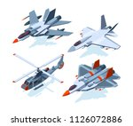 military aircrafts isometric.... | Shutterstock .eps vector #1126072886