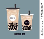 the bubble tea  pearl milk tea  ... | Shutterstock .eps vector #1126080329