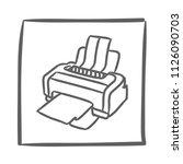 printer icon vector hand drawn. ... | Shutterstock .eps vector #1126090703