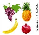 set of vector juicy ripe fruits ... | Shutterstock .eps vector #112609076