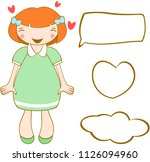 cute smiling ginger girl with... | Shutterstock .eps vector #1126094960