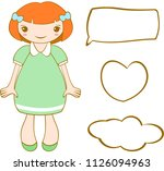 cute smiling ginger girl with... | Shutterstock .eps vector #1126094963