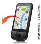 mobile phone with navigation... | Shutterstock .eps vector #112609958