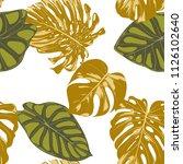 seamless hand drawn botanical... | Shutterstock .eps vector #1126102640