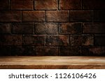 Wooden Table Dark Background Concept - Fine Art prints