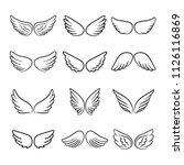 cute angel wings. cartoon... | Shutterstock .eps vector #1126116869