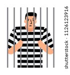 criminal man in jail  man under ... | Shutterstock .eps vector #1126123916