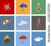 modern weather icons set. flat... | Shutterstock .eps vector #1126125020