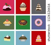 cakes icons collection. vector... | Shutterstock .eps vector #1126126616