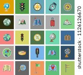 flat icons set of route vector... | Shutterstock .eps vector #1126126670