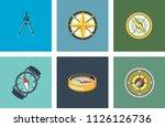 vintage nautical or marine wind ... | Shutterstock .eps vector #1126126736