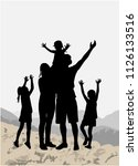 silhouette family of mountains...   Shutterstock .eps vector #1126133516