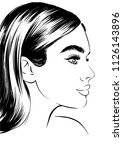 beautiful profile face of young ... | Shutterstock .eps vector #1126143896