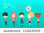 back to school sale vector... | Shutterstock .eps vector #1126144529