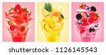 set of labels with fruit in... | Shutterstock .eps vector #1126145543
