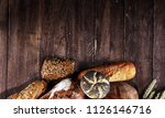 different kinds of bread and... | Shutterstock . vector #1126146716