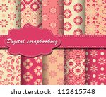 set of vector flower paper for... | Shutterstock .eps vector #112615748