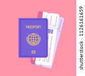passport and boarding pass... | Shutterstock .eps vector #1126161659