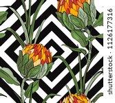 tropical vector seamless flower ... | Shutterstock .eps vector #1126177316