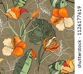 retro wild seamless flower... | Shutterstock .eps vector #1126177619