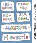 modern cute colorful patch set...   Shutterstock .eps vector #1126179989