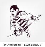 freddie mercury vector sketch... | Shutterstock .eps vector #1126180079