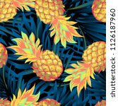 pineapples on the background of ... | Shutterstock .eps vector #1126187960
