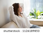 relaxed calm woman resting... | Shutterstock . vector #1126189853