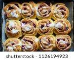 buns with cherry. berries...   Shutterstock . vector #1126194923