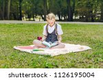student in uniform with... | Shutterstock . vector #1126195004