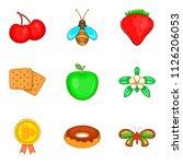 honey yield icons set. cartoon... | Shutterstock . vector #1126206053