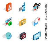 web info icons set. isometric... | Shutterstock . vector #1126206389