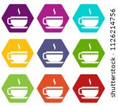 tea cup and saucer icon set... | Shutterstock . vector #1126214756
