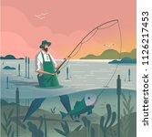 man catching a fish | Shutterstock .eps vector #1126217453