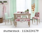 decorative dining table and...   Shutterstock . vector #1126224179