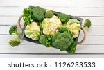 cauliflower and broccoli in a... | Shutterstock . vector #1126233533