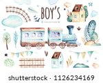 baby boys world. cartoon... | Shutterstock . vector #1126234169