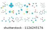 molecule icon set. cartoon set... | Shutterstock . vector #1126245176