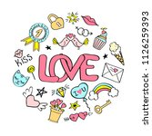 love  lettering with girly... | Shutterstock . vector #1126259393
