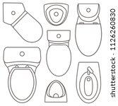 toilet equipment top view... | Shutterstock . vector #1126260830