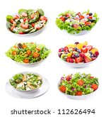 set with different salads on... | Shutterstock . vector #112626494