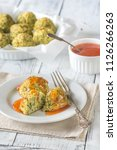zucchini tots on the plate | Shutterstock . vector #1126266263