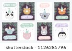 vector set of cute posters with ... | Shutterstock .eps vector #1126285796