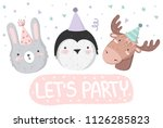 vector cute poster with festive ... | Shutterstock .eps vector #1126285823
